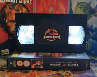 Upcycled Retro VHS Jurassic Park Night Light Table Lamp. Nostalgic Spielberg Movies. Multiple Designs Available. Gift. Wedding Decoration