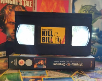 Upcycled Retro VHS Kill Bill Night Light Table Lamp. Quentin Tarantino Film Geek Movies TV. Multiple Designs Available. Gift. Collectable.
