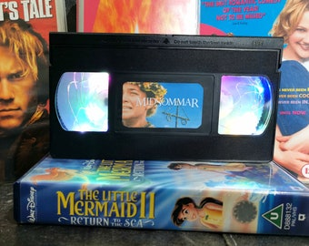 Upcycled Retro VHS Midsommar Night Light Table Lamp. Horror Halloween Scary Movies TV. Multiple Designs Available. Gift.