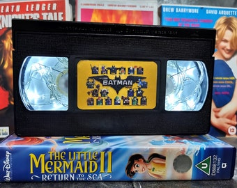 Upcycled Retro VHS Lego Batman Night Light Table Lamp. DC Comic Book Superhero Children's Movies. Multiple Designs Available. Gift.