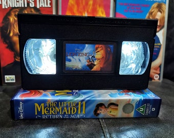 Upcycled Retro VHS Lion King Night Light Table Lamp. Disney Children's Baby Movies. Multiple Designs Available. Gift. Wedding Decoration