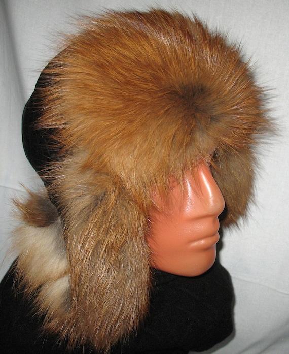 Nice  Men's  Aviator Hat Real Red Fox Fur Bomber  Russian Ushanka Style