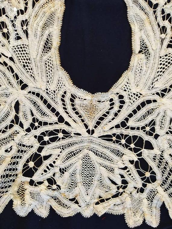 Huge vintage cotton ribbon lace collar, vintage la