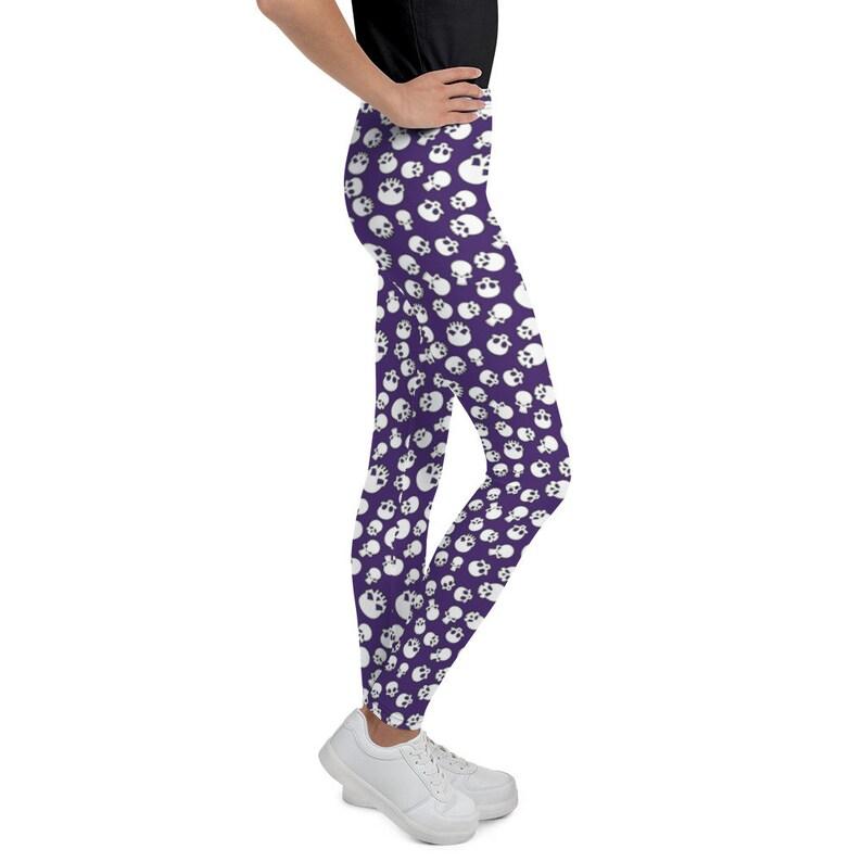 Sizes 8-20 Printed Purple Skulls Kid/'s Leggings Kid/'s Yoga Pants Halloween Girl/'s Leggings Cut /& Handmade Children/'s Leggings