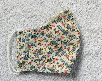 Handmade Cream Pink and Blue Floral Print Face Mask, Sizes - Women/Teen