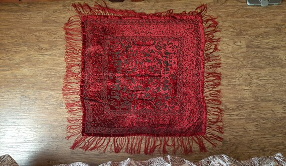 Vintage Wine/Red, 100% Silk Shawl from Egypt