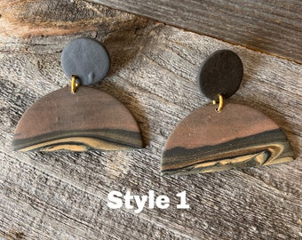 Black and Tan Abstract Bells - Polymer Clay Earrings - Style 1
