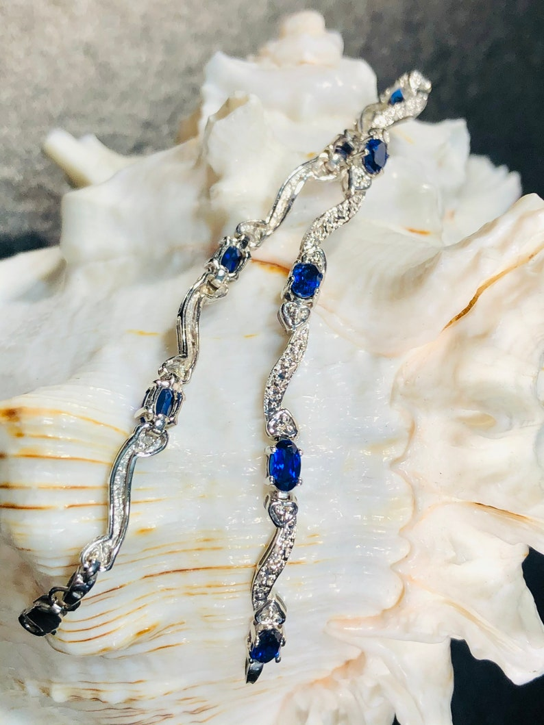 10k Solid White Gold Bracelet with 8 Oval Created Blue Sapphires