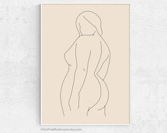 Printable Nude Illustration Plus Size Woman Drawing Posters Mugs Motivational Poster Curvy Woman Design for T-shirts Greeting Cards...
