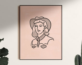 Cowgirl Poster Art Print in Dusty Pink, Unframed