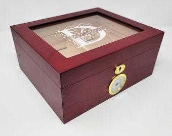 Personalized Cigar Humidor - Humidor Cigar Box - Cigar Box Vintage - Cigar Gift Set - Wood Cigar Holder - Cigar Humidor Kit - Cigar Gift Box