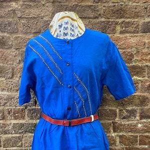 Vintage 80s Deadstock Italian Blue Dress