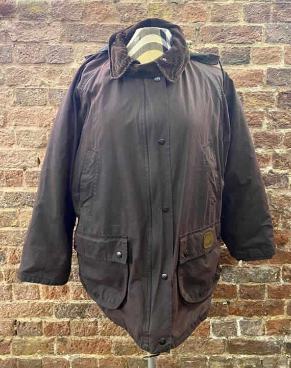Vintage Burberry Mahogany Wax Ladies Jacket, Large