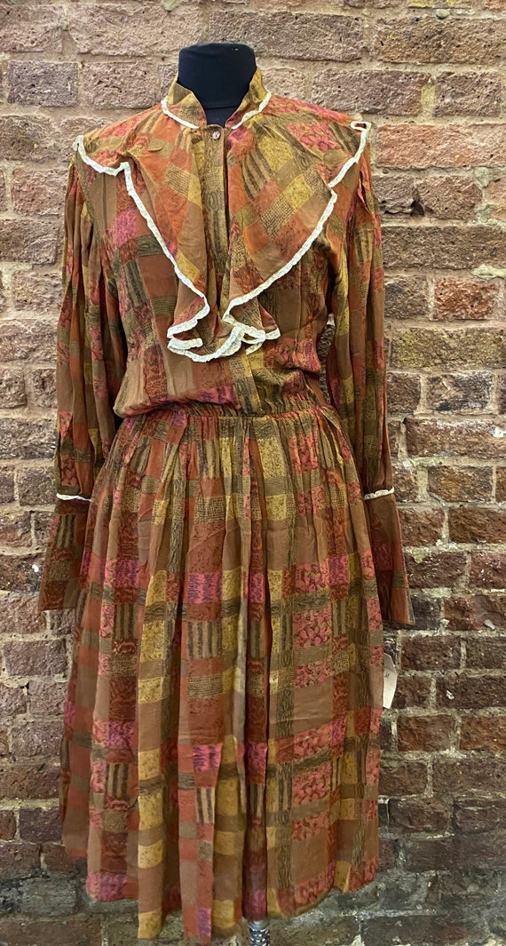 Vintage 80s Deadstock Chiffon Autumnal Dress - image 2