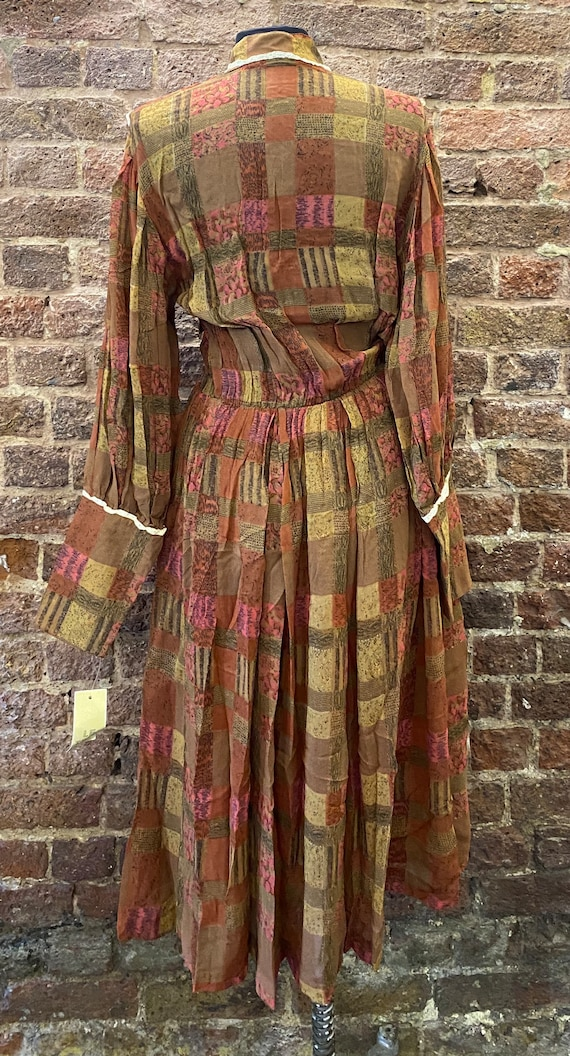 Vintage 80s Deadstock Chiffon Autumnal Dress - image 10