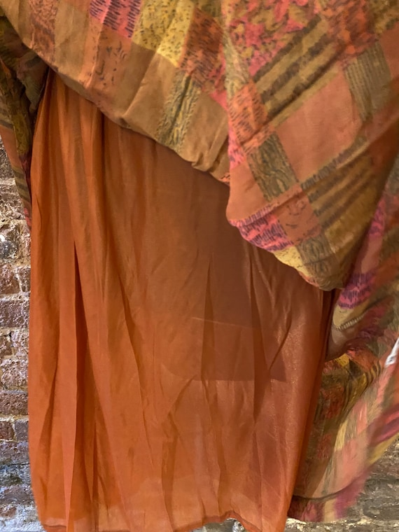 Vintage 80s Deadstock Chiffon Autumnal Dress - image 7