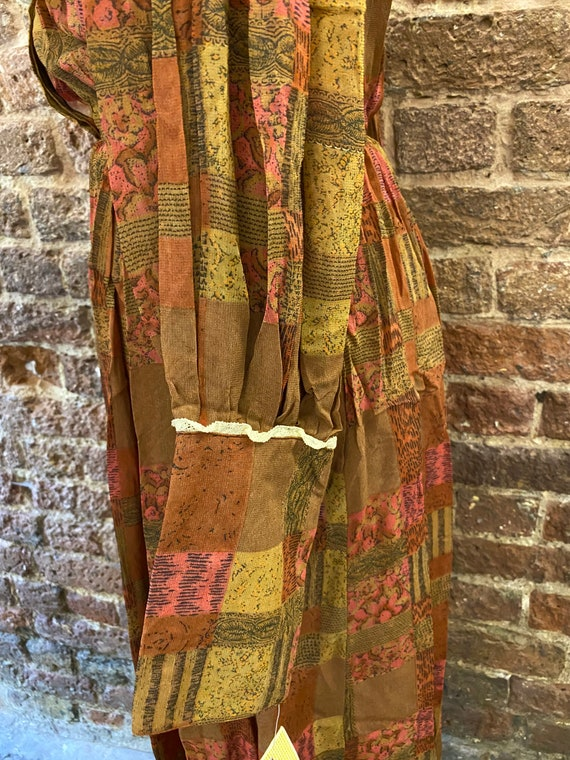 Vintage 80s Deadstock Chiffon Autumnal Dress - image 5