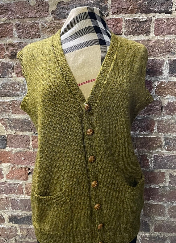 Long Knit sweater Vest Button Up Cableknit Cardigan Sweater top Boho Chic Button Down sweater with Pockets Women/'s Size Large