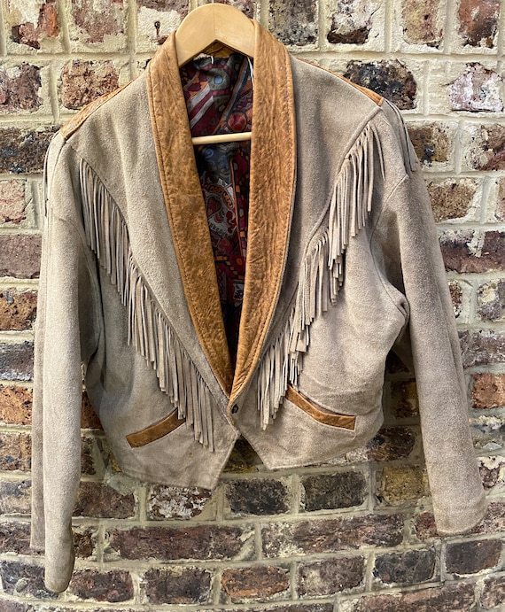 Vintage 1980s brown suede leather jacket, XL