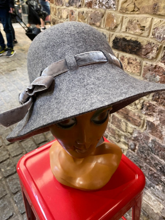 70s Style New Wool Grey Floppy Hat new with tags