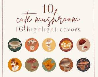 10 Cute Mushroom IG highlight covers - Inochi Design | Instagram icons | Instagram stories | Instagram templates | Social media templates