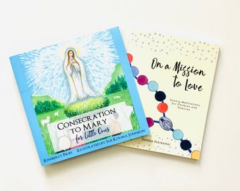 Consecration to Mary for Little Ones   Book Set   Optional Wood Bead Rosary   First Communion   Confirmation   Catholic Gift