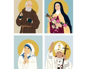 Note Cards With Optional Wax Seals   St. Therese Little Flower   St. Padre Pio   St. Mother Teresa   St. John Paul II
