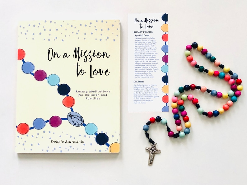 Rosary Gift Set for Children  First Communion Gift  1 book &  1 rosary