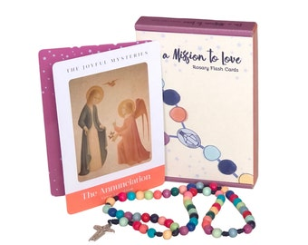 Rosary Flash Cards   First Communion   Confirmation   Catholic Gift   Optional Colorful Wood Bead Rosary