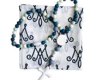 Baby Swaddle & Rosary   Silicone Rosary   Catholic Baby Gift   Baby Shower Gift   Baptism Gift