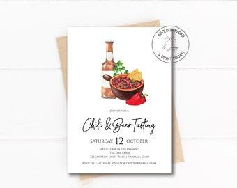 Chili and Beer Tasting Invitation | Editable Chili Tasting Party Invitation Templett