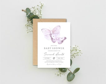 Purple Baby Shower Invitation   Butterfly Baby Shower Invite   Gender Neutral Baby Shower Invitation   Instant Download, N76P