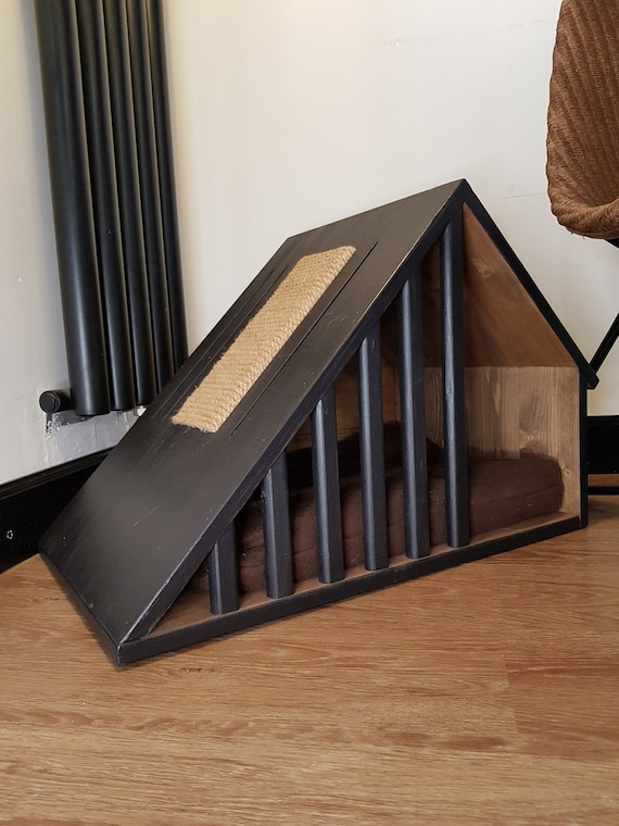 Wooden Pet House With Scratching Post Indoor Dog House Dog Etsy