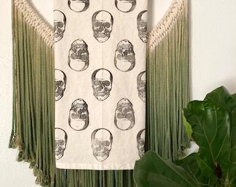 Skull tea towel/ cotton flour sack towel/block printed dish towel/halloween kitchen towel/ skeleton hand towel/ fall decor/ set of towels
