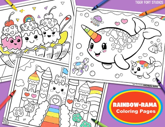 Kawaii Rainbow-Rama Coloring Bundle Narwhal Magic Castle