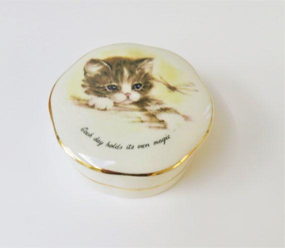 Vintage Crown Devon Cat Trinket Box Delightful Tabby Kitten Etsy
