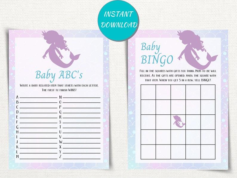 Beach Themed Baby Shower Game Pack Mermaid Baby Shower Decor Mermaid Baby Shower Games Bundle Ocean Theme Baby Shower Games Printable