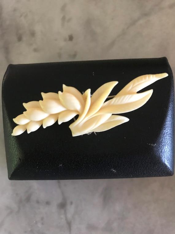 SIGNED Ming's carved bone ginger earrings flora Ha