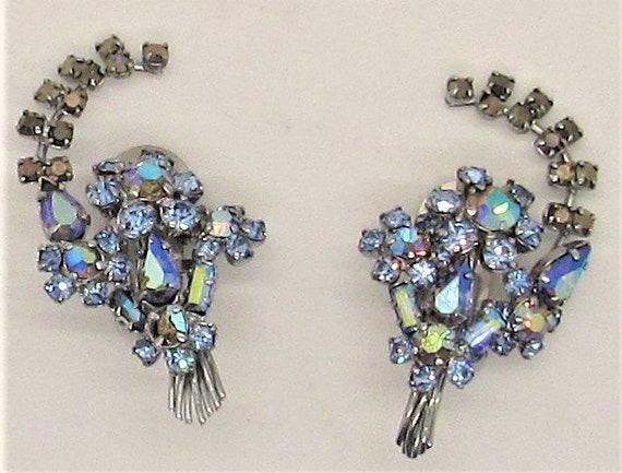 iridescent ear climbers Rhinestone earrings 1980s. clip-ons vintage