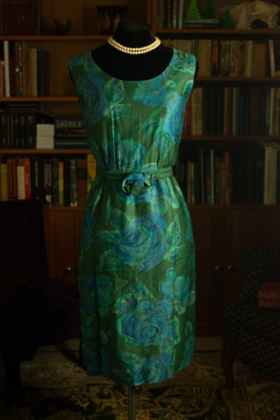 Green and Blue 1960s Dress