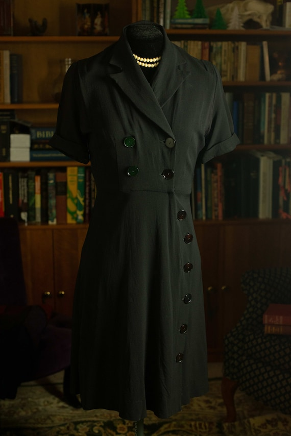 Black 1940s Rayon Dress