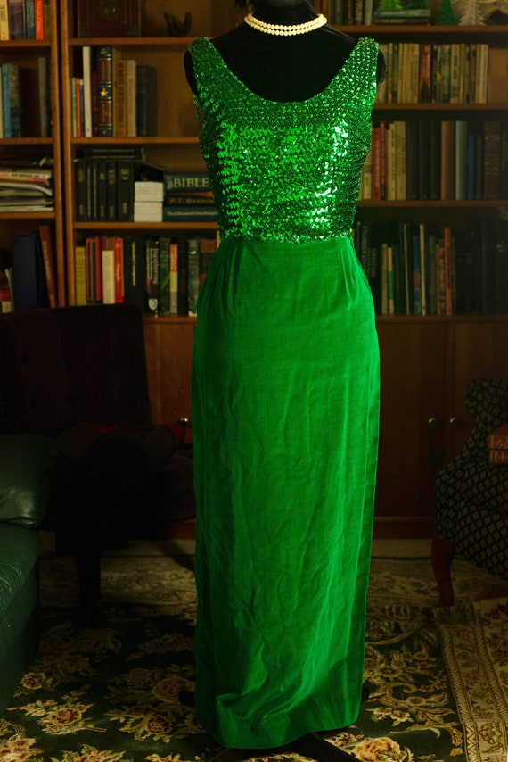 Late 50s Emerald Velvet and Sequins Evening Gown