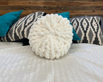 Chunky Round Throw Pillow,Mother/'s Day Gifts,Crochet Soft Wool Circle Cushion,Hand Woven Knitted Pillow,Bedroom Home Decor Housewarming Gift