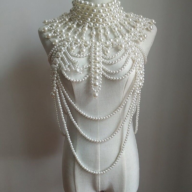 Imitation Pearl Body Jewelry Shoulder ChainNecklace Layered image 1