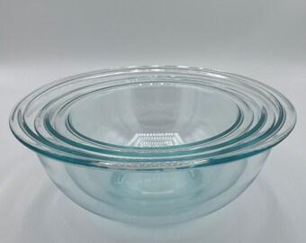 Set of 3 Vintage Corning Pyrex Pastel Colors Nesting Bowls 325 Blue 323 Yellow 322 Coral