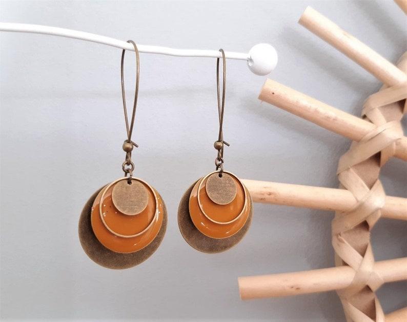 MAELYS white or mustard sequin earrings
