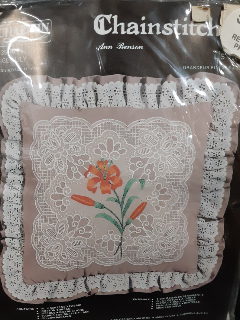 Vintage Charmin Chainstitching Pillow Craft Kit Tiger Lily New In Package Janlynn Corp Ann Benson # 35-76