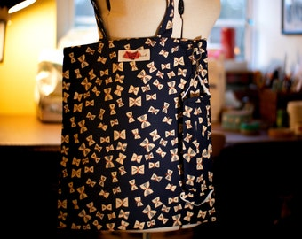 Facemask and Matching Totebag in Navy Blue Butterflies Fabric