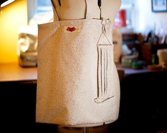 Facemask and Matching Totebag in Cream & Metallic Gold Fabric