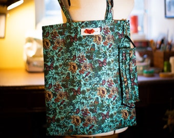 Facemask and Matching Totebag in Exotic Birds Fabric